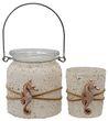 Windlicht Teelicht Kerzenhalter Seepferchen Sand Creme Maritime Deko Tischdeko 1