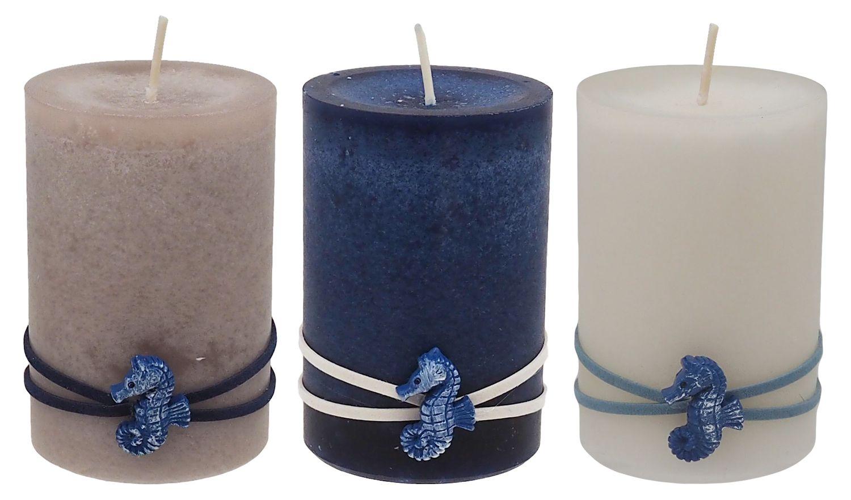 Kerzen Stumpenkerzen Maritime Kerzen Creme Braun Blau Seepferdchen Deko Tischdeko Mix 3 Stück