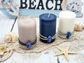 Kerzen Stumpenkerzen Maritime Kerzen Creme Braun Blau Seepferdchen Deko Tischdeko Mix 3 Stück 2