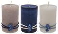 Kerzen Stumpenkerzen Maritime Kerzen Creme Braun Blau Seepferdchen Deko Tischdeko Mix 3 Stück 1
