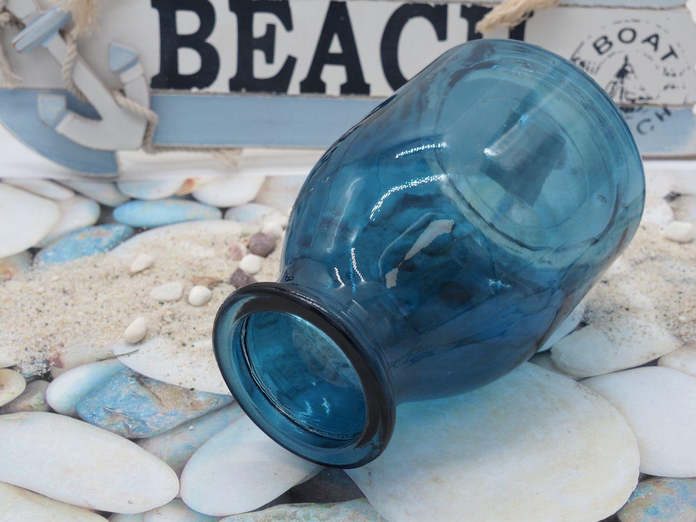 Vase Blumenvase Glas Blau Dunkelblau Tischdeko Maritime Deko Terrasse Balkon Sommer Garten