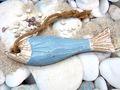 Fisch Hängedeko Kordel Blau Holz Figur Anhänger Maritime Deko Bad Garten Sommer 2