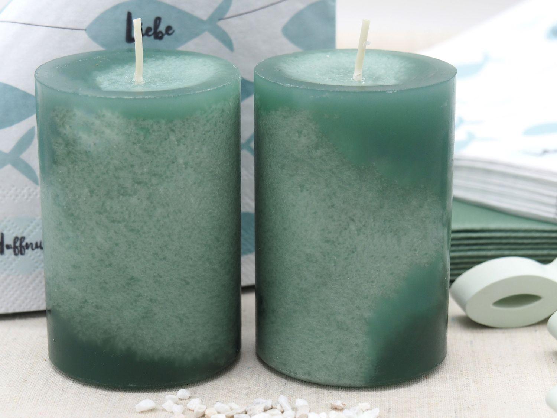 Tischdeko Kommunion Konfirmation Salbei Mint Grün Natur Vasen Streudeko SET 20 Personen