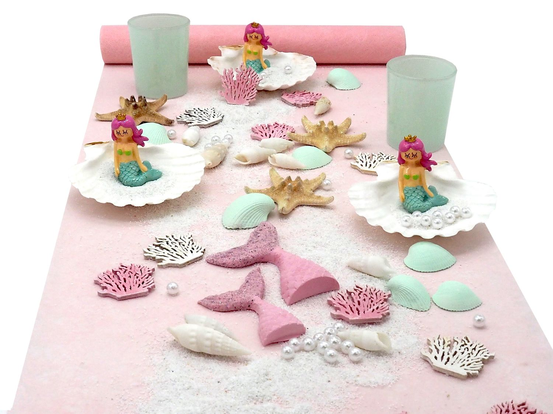 Tischdeko Kindergeburtstag Meerjungfrau Mädchen Geburtstag Rosa Mint Party Maritime Deko