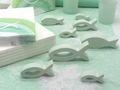 Kommunion Konfirmation Tischdeko Mint Grün Salbei Weiß Fisch SET 20 Personen 4