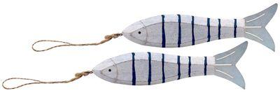 Fische Holz Anhänger Deko Maritim Weiß Blau Sommer Party Tischdeko Wanddeko 2 Stück