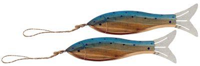 Fische Holz Anhänger Deko Maritim Braun Blau Sommer Party Tischdeko Wanddeko 2 Stück