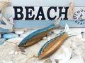 Fische Holz Anhänger Deko Maritim Braun Blau Sommer Party Tischdeko Wanddeko 2 Stück 3