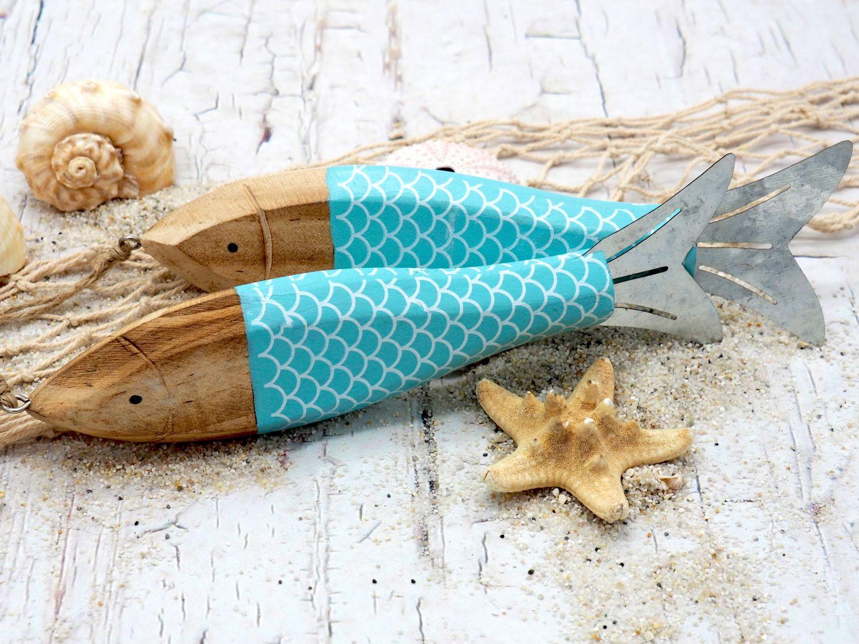 Fische Holz Anhänger Deko Maritim Türkis Sommer Party Tischdeko Wanddeko Fischrestaurant 2 Stück