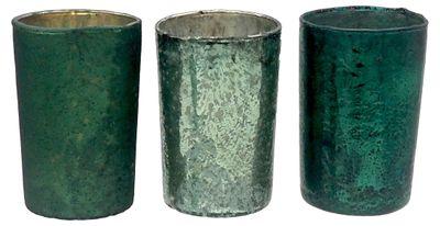 Teelichtglas Kerzenhalter Teelichthalter Glas Deko Advent Weihnachten Grün 3 Stück