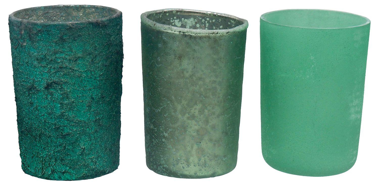 Teelichtglas Kerzenhalter Teelichthalter Glas Advent Deko Weihnachten Mint Grün 3 Stück