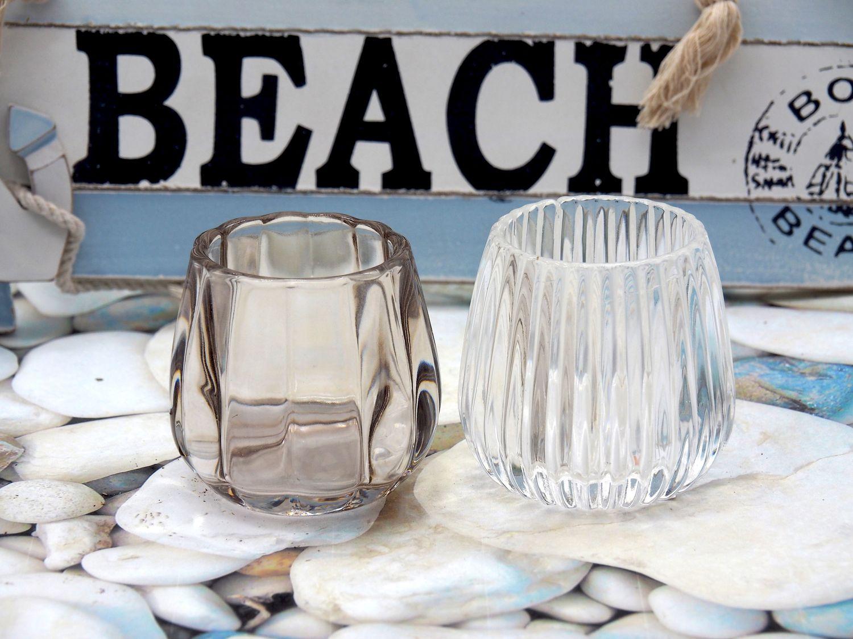 Teelichthalter Kerzenhalter Glas Taupe Transparent Tischdeko Maritim Herbst Weihnachten 2 Stück