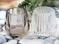Teelichthalter Kerzenhalter Glas Taupe Transparent Tischdeko Maritim Herbst Weihnachten 2 Stück 3