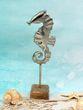 Deko Seepferdchen Figur 24cm Aluminium Silber auf Holzsockel Aufsteller Maritime Tischdeko 3