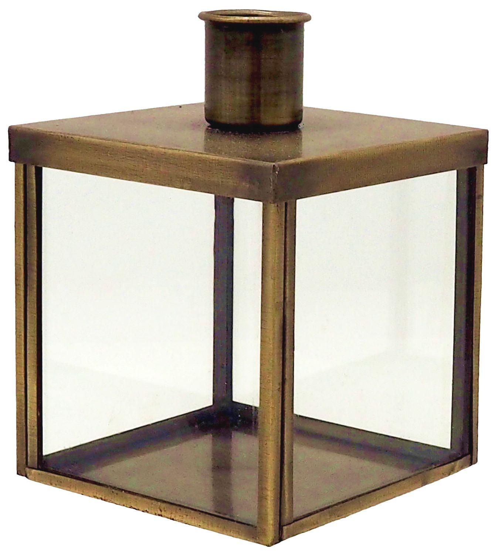 Kerzenhalter für Stabkerze mit Metalldeckel Glas Metall Gold Aufbewahrung Deko Tischdeko 10cm