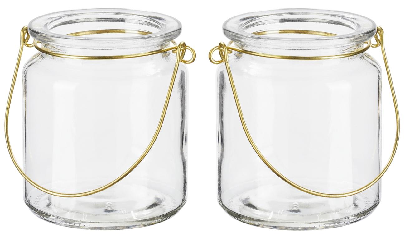 Windlicht Glas mit Bügel Gold Teelichtglas Deko Hochzeit Kommunion Konfirmation Geburtstag 2 Stück