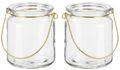 Windlicht Glas mit Bügel Gold Teelichtglas Deko Hochzeit Kommunion Konfirmation Geburtstag 2 Stück 1