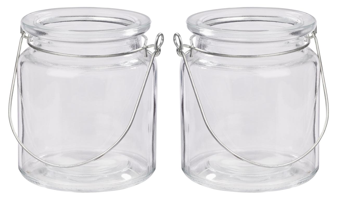 Windlicht Glas mit Bügel Silber Teelichtglas Deko Hochzeit Kommunion Konfirmation Geburtstag 2 Stück