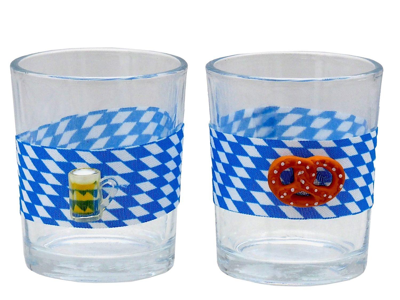 Teelichthalter Oktoberfest Brezel Bierkrug Bayrisch Blau Weiß Tischdeko Teelichtgläser Deko Party Geburtstag 2 Stück