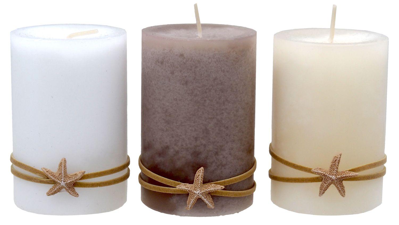 Kerzen Stumpenkerzen Weiß Creme Braun Seestern Maritim Deko Tischdeko 3 Stück