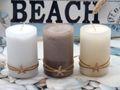 Kerzen Stumpenkerzen Weiß Creme Braun Seestern Maritim Deko Tischdeko 3 Stück 2