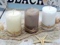 Kerzen Stumpenkerzen Weiß Creme Braun Seestern Maritim Deko Tischdeko 3 Stück 5