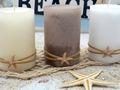 Kerzen Stumpenkerzen Weiß Creme Braun Seestern Maritim Deko Tischdeko 3 Stück 4
