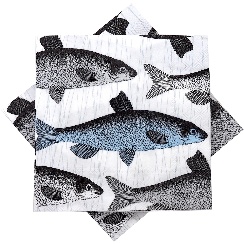 Servietten Fisch Blau Grau Tischdeko Party Restaurant Maritim Deko 20 Stück