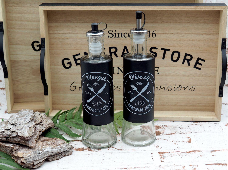 Essig und Öl Spender Duo Schwarz Glas Flasche Ölspender Essigspender Modern Küche Restaurant 2 Stück