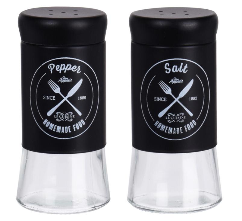 Salz und Pfefferstreuer Set Glas Kunststoff Schwarz Küche Restaurant Garten 2 Stück