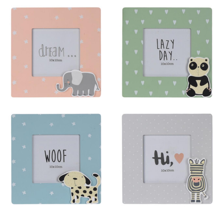 Bilderrahmen Bilder Dekorahmen Wandbild Hund Panda Zebra Elefant Kinderzimmer Deko