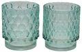 Teelichthalt Windlicht Glas Türkis Mint Tischdeko Maritim Deko 2 Stück 1
