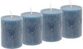4 Rustic Stumpenkerzen Kerzen Blau Graublau Tischdeko Party Deko Adventskerzen 1