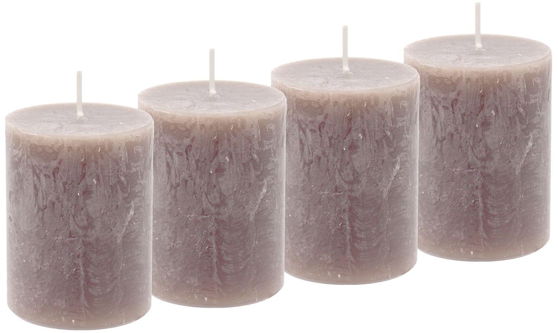 4 Rustic Stumpenkerzen Kerzen Taupe Braun Greige Tischdeko Party Deko Adventskerzen