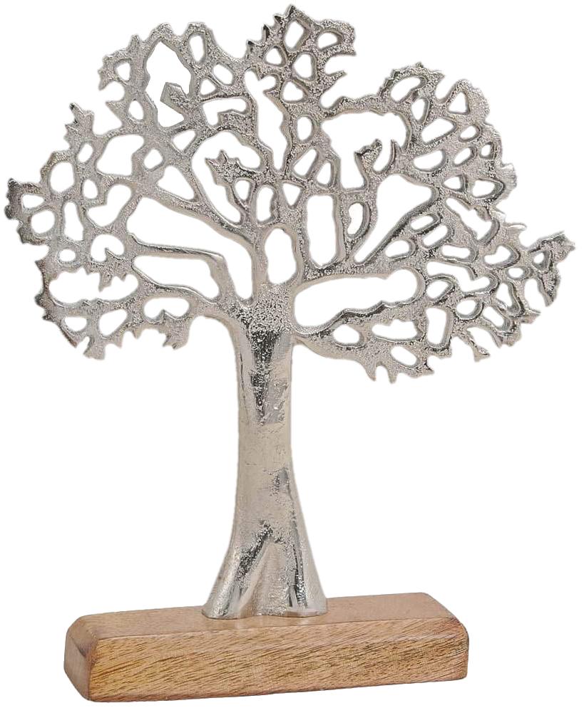 Baum des Lebens auf Holzsockel Alu Lebensbaum Schmuckständer Kommunion Konfirmation Tischdeko Deko 35cm