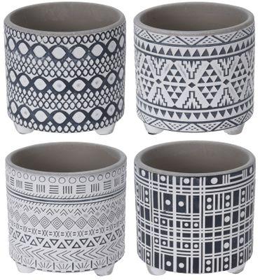 Blumentopf Beton Groß Übertopf Deko Weiß Grau Schwarz Tischdeko Terrasse Verschiedene Muster