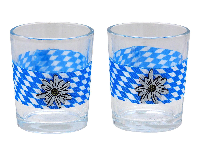 Teelichthalter Oktoberfest Edelweiß Bayrisch Raute Tischdeko Teelichtgläser Deko Party Geburtstag 2 Stück