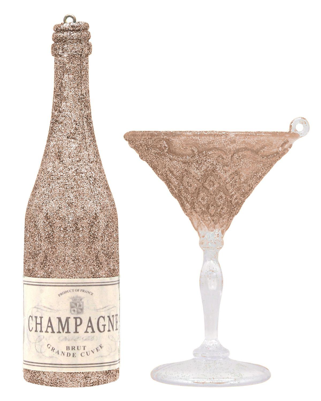 Champagner Flasche mit Glas Christbaumschmuck Christbaumanhänger Glas Weihnachten Rosé Gold Weiß Grün