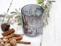 Teelichthalter Kerzenhalter Glas Grau Silber Schneeflocke Teelichtglas Advent Weihnachten Tischdeko Deko 3