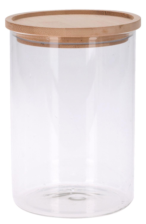 Vorratsglas mit Holzdeckel Glasdose Gewürzglas Aufbewahrung Küche Bad Vorratsdose 18cm