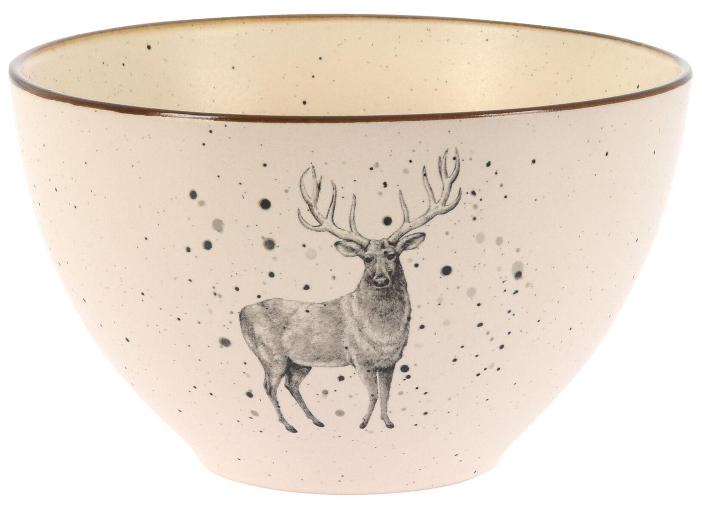 Müslischale Hirsch Tannenbaum Schale Servierschale Creme Schüssel Keramik Tischdeko Weihnachten 450ml
