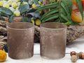 Teelichthalter Braun Vintage Teelichtglas Kerzenglas Deko Tischdeko 2 Stück 2
