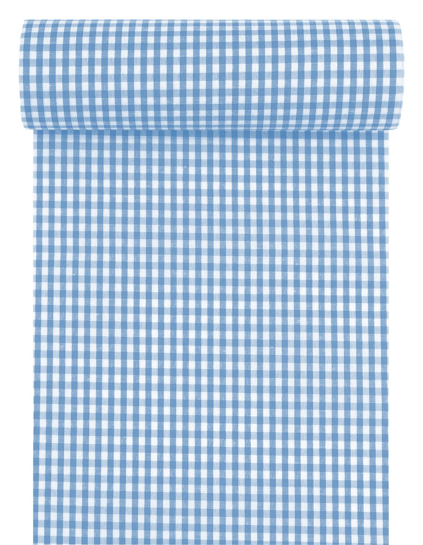 Tischläufer Tischband Stoff Kariert Vichy Karo Blau Weiß Oktoberfest Tischdeko Polyester 10m