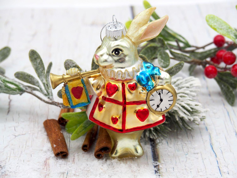 Christbaumschmuck Verspäteter Hase von Alice im Wunderland Kugel Christbaumkugel Glas Mundgeblasen