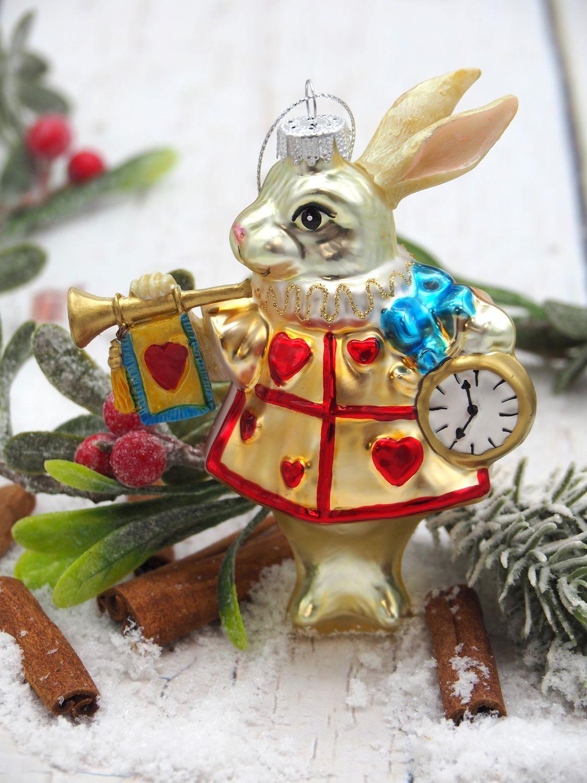 Alice im Wunderland - das weiße Kanninchen aus Märchen Christbaumschmuck aus Glas