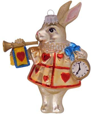 Christbaumschmuck Weihnachtsbaumschmuck Kaninchen im Wunderland Glas Ornament 14cm Weihnachten Deko Anhänger