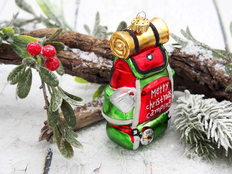Christbaumschmuck Weihnachtsbaumschmuck Rucksack Camping Wandern Glas Ornament 11cm Weihnachten Deko Anhänger