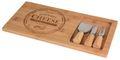 Käsebrett mit Käsemesser Gabel Bambus Holz Käseplatte Servierbrett Käse 38cm 1