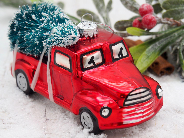 Christbaumschmuck Pick-Up Truck Auto mit Weihnachtsbaum Weihnachtsbaumschmuck Glas 10cm Weihnachten Retro Deko Anhänger