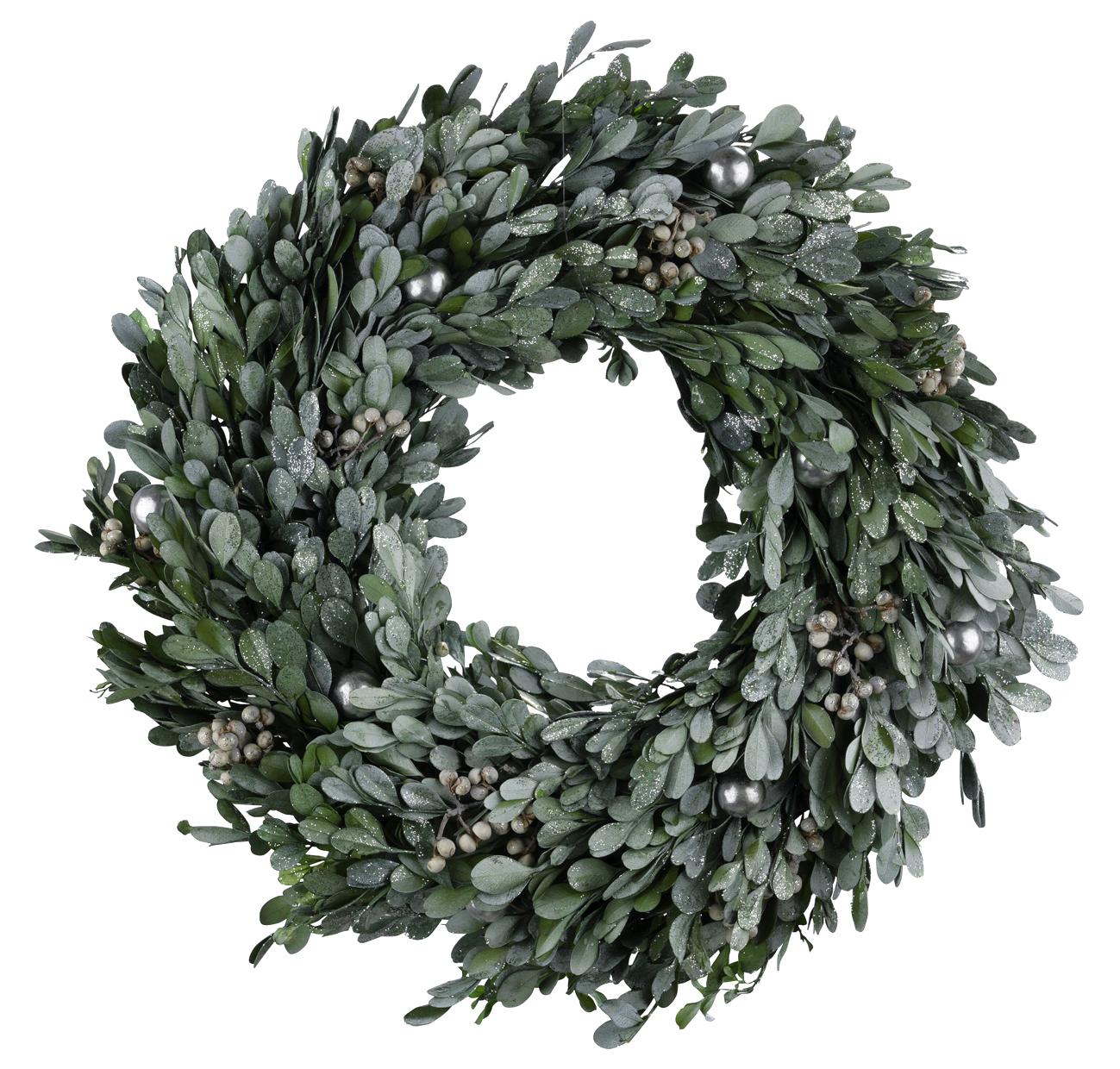 Grüner Natur Türkranz, Fensterkranz oder Tischkranz als Adventskranz oder Weihnachtskranz